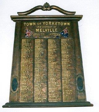 Yorketown Town and District Honour Board for WW1 (Photo from RSL Virtual War Memorial) A War Pension was granted to Catherine Teresa Degidan of Yorketown, mother (married) of late Driver Degidan