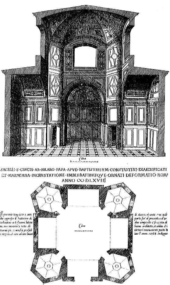 Hierusalem in Laterano 129 12. Oratory of the Holy Cross, St. John Lateran, ground plan and cross section, Laférey, 1572.