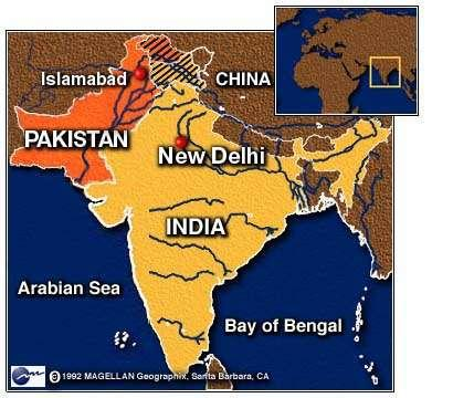 India s Geographic Features The Indian subcontinent is a large, wedge-shaped peninsula that extends southward into the