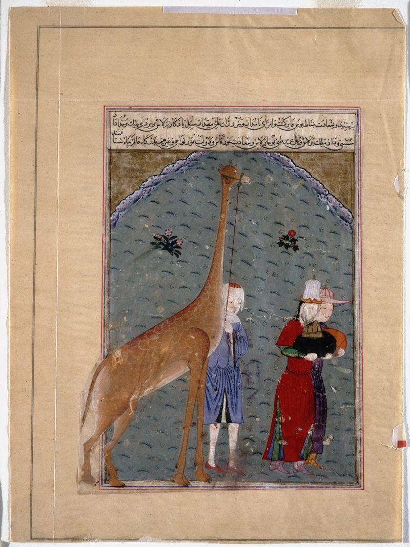 of Iran, Timur. On the far right, ambassadors of Egypt present him with a giraffe!