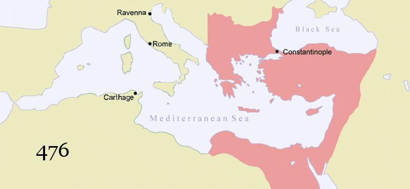FALL OF ROME, RISE OF THE BYZANTINES The Decline and Fall of Rome In 395, the Roman Empire split into western and eastern halves, with the western part being ruled from Rome, and the eastern part