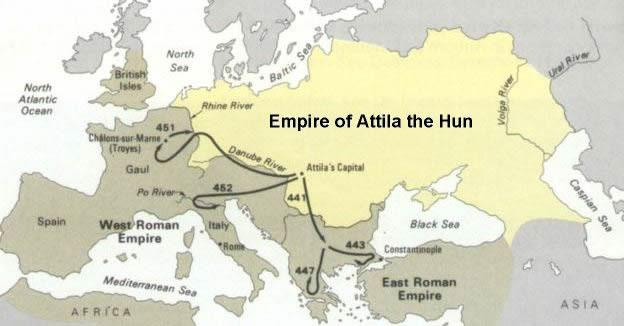 The Power of Attila Meanwhile, the Huns, who were indirectly responsible for the Germanic assault on the empire, became a direct threat.