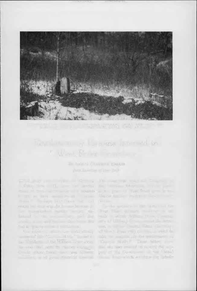PHOTOGRAPH OF ORIGINAL GRAVE NEAR HIGHLAND FALLS, NEW YORK, OF MARGARET CORBIN, WITH IDENTIFYING CEDAR STUMP AT HEAD Revolutionary Heroine Interred in West Point emetery BY AMELIA CAMPBELL PARKER