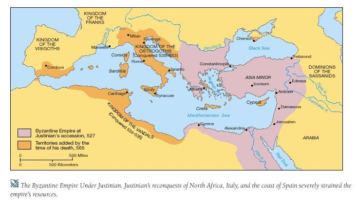 About 50 years after the fall of Western Rome, Justinian came to power in the East; he began reconquering Roman territories lost to the
