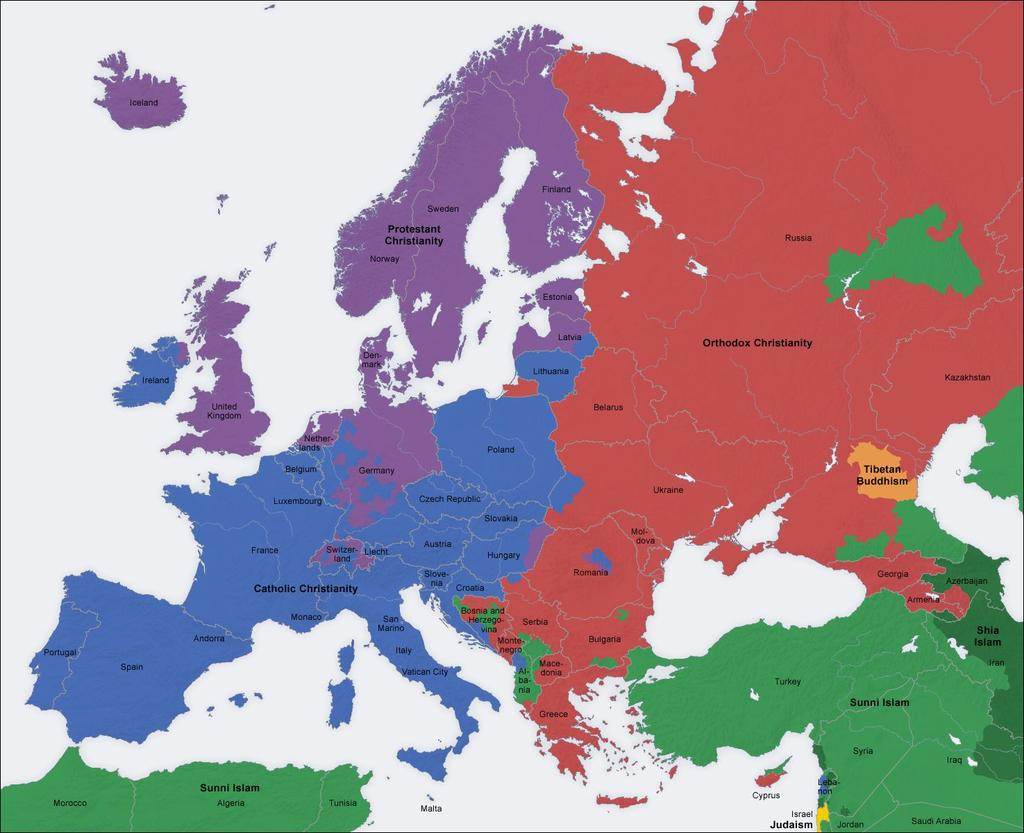 JEWS Religion in Europe Today CATHOLIC CHRISTIANS