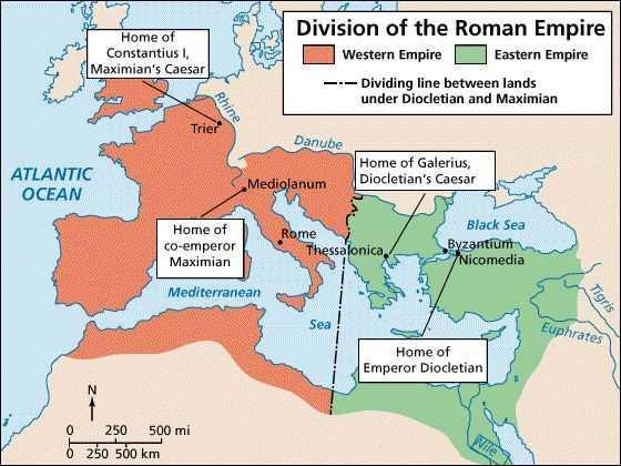 Emperor Diocletian then tried to save the Roman Empire by dividing it to make it more manageable The Western side of the Roman Empire continued