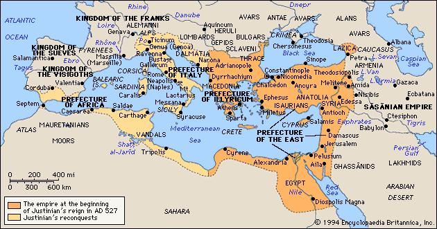 Byzantine Empire from 527 to 565 A