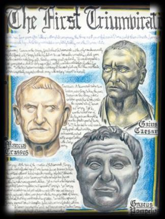 joins with Crassus (wealthy Roman) and Pompey (popular