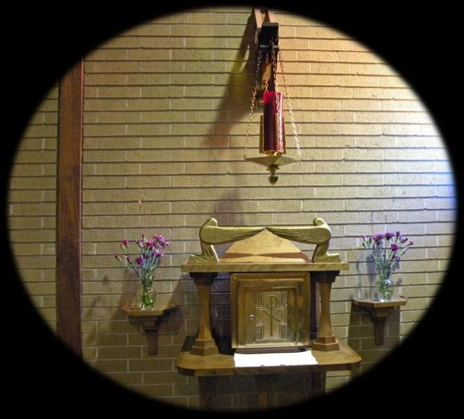 Tabernacle the reservation of the Eucharist is placed in the tabernacle in our chapel where we have Adoration and Benediction, and where parishioners come to give thanks and praise for Christ s
