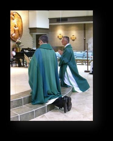 Under these garments both priests and deacons wear an alb.