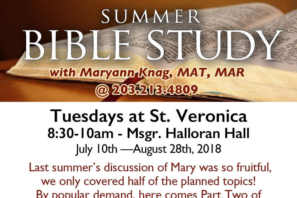 VACATION BIBLE SCHOOL July 17: Mary in History: What do the Church Fathers say about Mary; St. Jerome and following; in the Reformation Debates and onward.