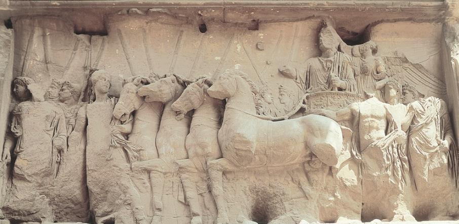 Early Roman Empire Triumph of Titus, relief panel from Arch of Titus, Rome, after 81 CE This scene depicts the actual triumphal procession with the toga-clad Titus in the chariot, but with the