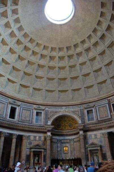 Pantheon, Rome. 125-128 CE HIGH EMPIRE From this indoor photo of the Pantheon you can see the carved panels as well as the intense light that the Oculus provides for the room.