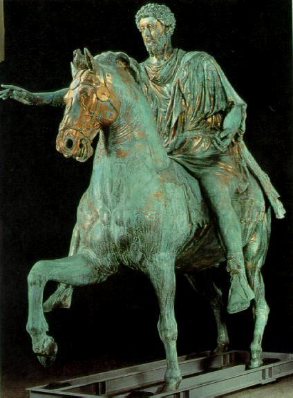 Equestrian statue of Marcus Aurelius, Rome, Italy 175 CE This larger-than-life guilded bronze equestrian statue was selected by Pope Paul III as the center piece for Michelangelo s new design.