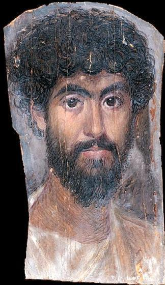 Mummy portrait of a man Faiyum, Egypt 160-170 CE Egyptians buried their dead in mummy cases. In Roman times, however, painted portraits on wood replaced the traditional stylized portrait masks.