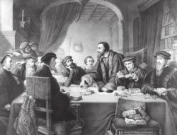 The idea that a congregation should be allowed to choose its own In this picture, John Calvin is shown speaking before leaders in Geneva. Which Protestant churches were based on Calvinism?