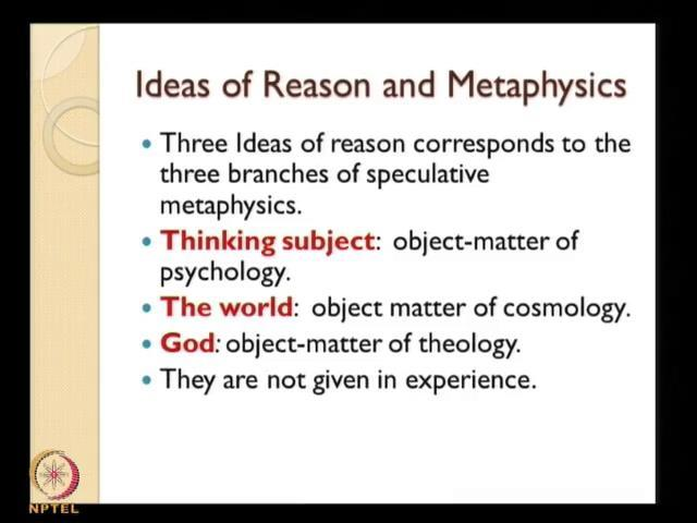 (Refer Slide Time: 33:02) And interestingly we can see that these three ideas of reason which we have already mentioned which is actually nothing, but the result of the human minds propensity or