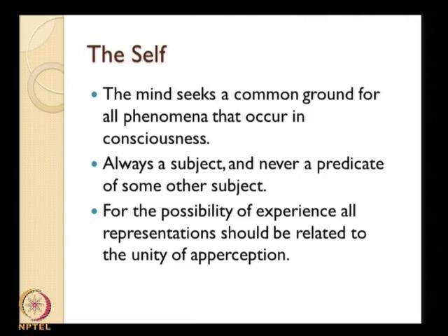 (Refer Slide Time: 34:36) So, now let us see ideas of reason and there misuses say for example, the self. The self as for as be conceived the self as a transcendental idea of reason, what is it?