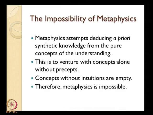 (Refer Slide Time: 11:02) Metaphysics is impossible as a science; because in science what happens is that is science we try to gain knowledge about or reality which is in front of us, which is given