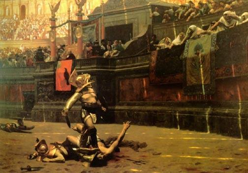 Gladiators Slaves trained to fight to the death.