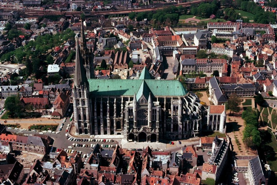 Aerial view of Chartres Cathedral (looking