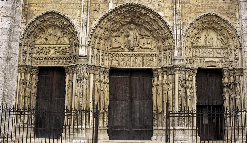 Royal Portal, west facade, Chartres Cathedral, Chartres, France, ca.