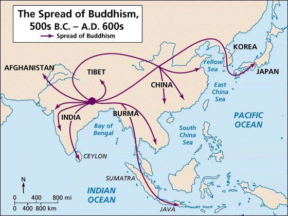 2500 250 BC Buddhism Buddhism, which teaches people that they can escape the suffering of the world through the