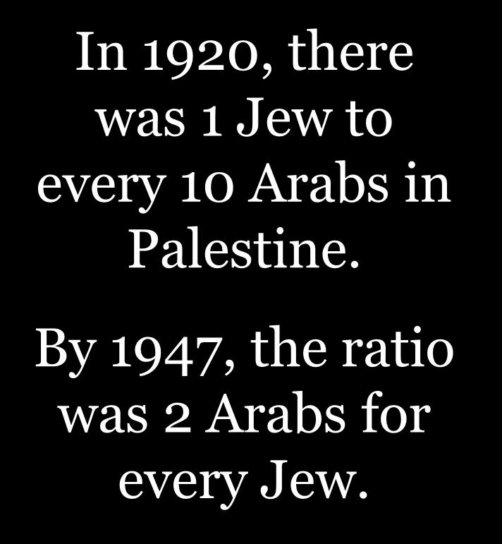 Jews & Arabs in Palestine, 1920 In 1920, there
