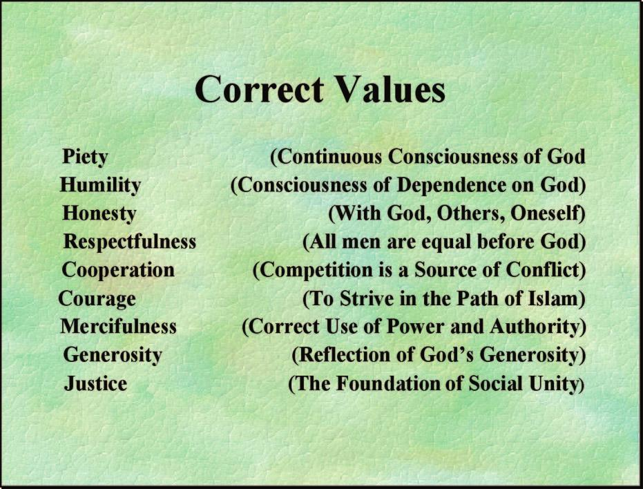 The nine values represent the limitations of modern visual technology rather than any effort to conclude that the good Muslim should exhibit just these nine characteristics.