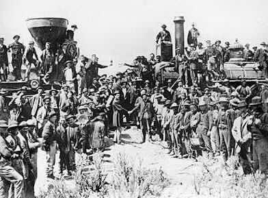 The Central Pacific and Union Pacific Railroad met at Promontory Point on May 10, 1869. They hammered a golden spike into the rail that joined the two tracks.