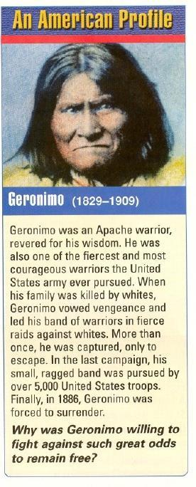 Apache Indians fiercely resisted the loss of their lands by the settlers setting up ranches. An Apache leader, Geronimo, led the Apache Indians against the settlers.