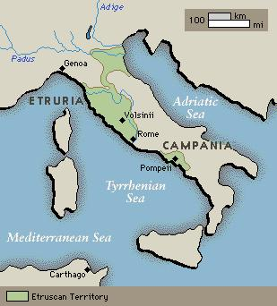 Etruria the Kingdom: Rome s Early Days (700-500 B.C.E.) For two and a half centuries, kings of the neighboring Etruria, the land to Rome s north, ruled the city.