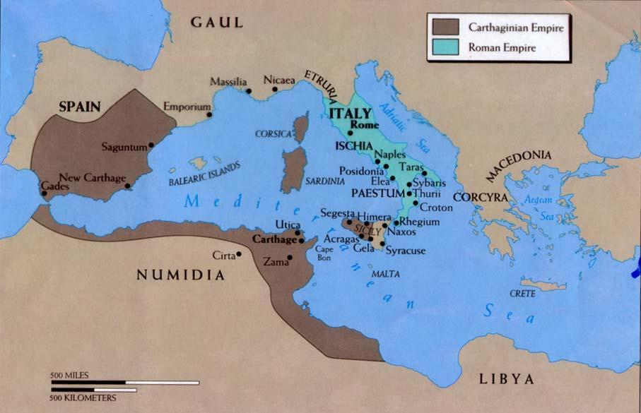 The Republic Expands The Carthaginians controlled the north central coast of Africa and the western Mediterranean.