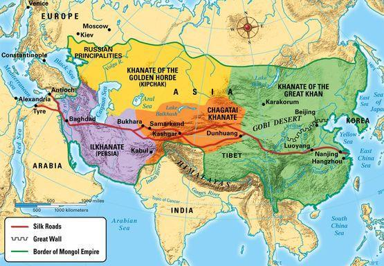 Following the death of Chinggis Khan, the Mongol Empire was divided into regional khanates Lasted 200 years