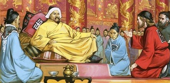 Following a civil war over succession in Karakorum, goes to and established the Yuan Dynasty (1271) in China, reunifying the fragments of the Song Confucians were at odds with many of the practices