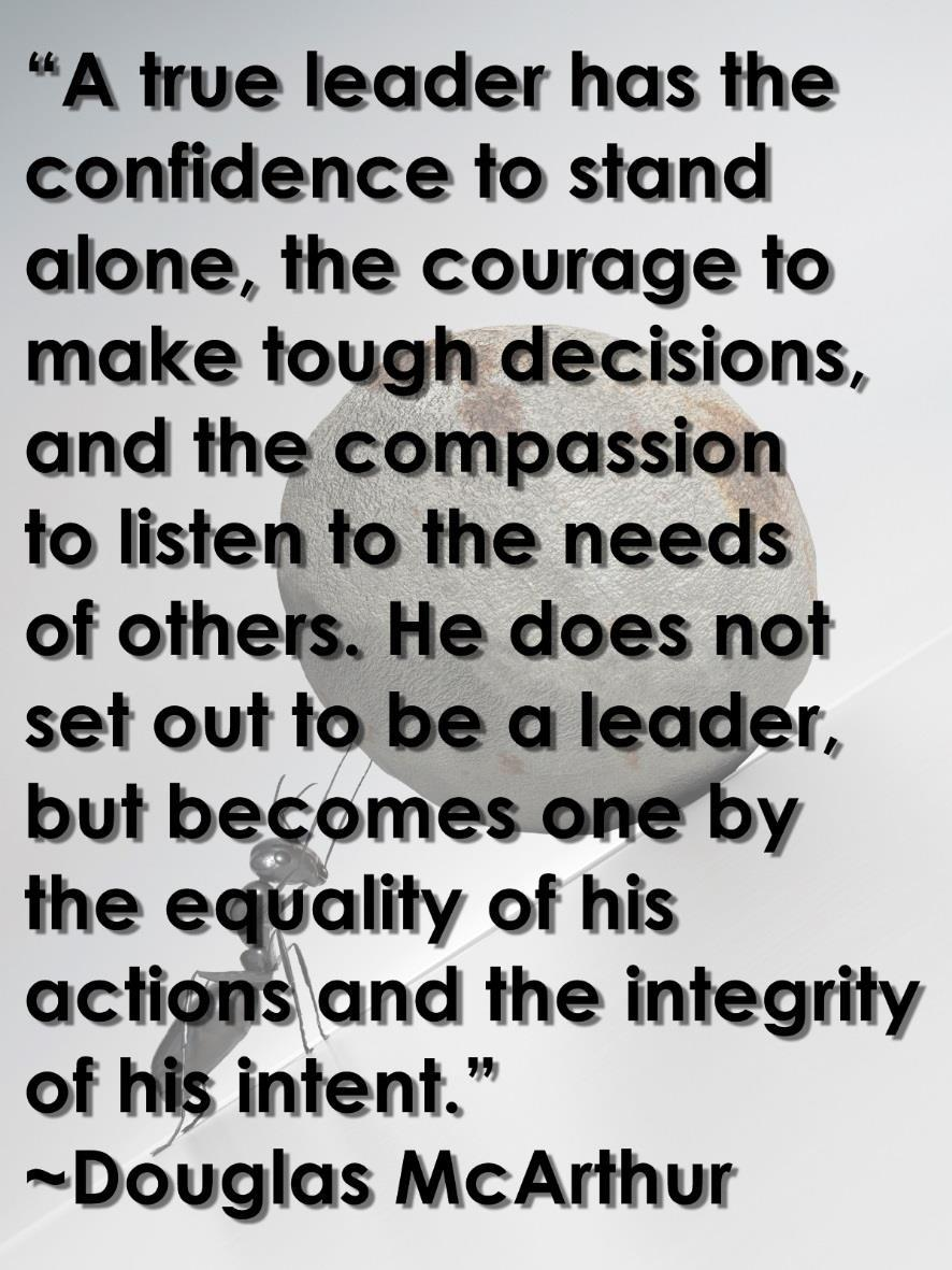 Courage & Determination Courage and Determination are qualities that every leader must embrace