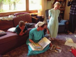Idea and Practice of Care Extended by Anabaptist People 9 Picture 4 An Amish Mennonite family home-schooling session after their morning chores, Hutchinson, Kansas, 2009 In 1877, the Amish Mennonites