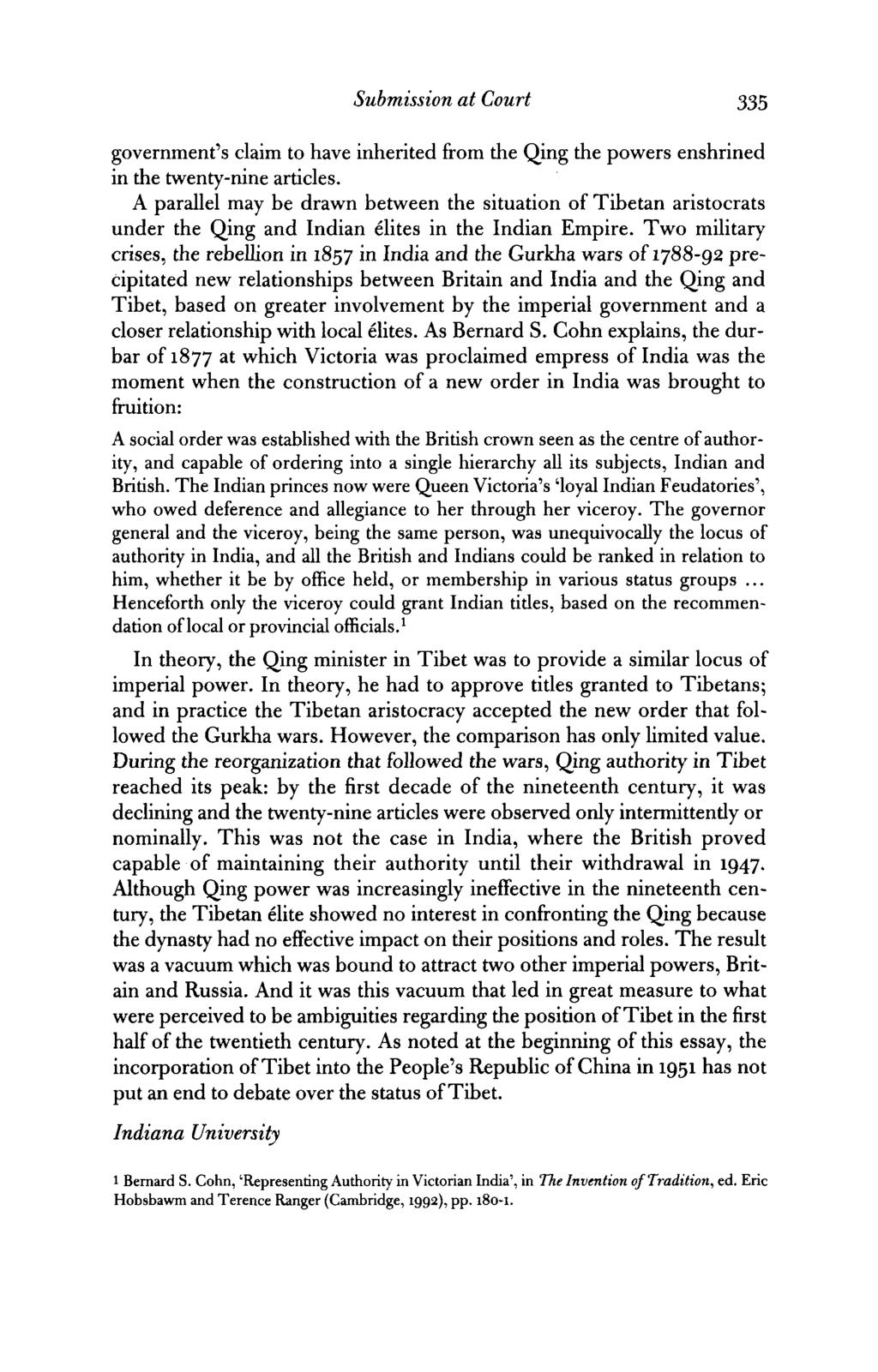 Submission at Court 335 government's claim to have inherited from die Qing die powers enshrined in die twenty-nine articles.
