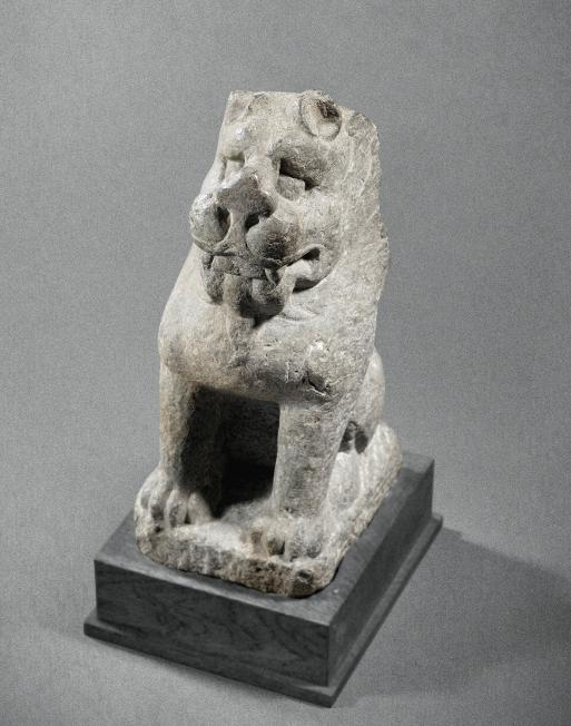 A Xiangtangshan Limestone Sculpture of a Seated Lion Northern Qi