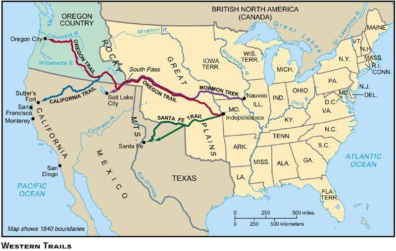 The Oregon Trail and California Trail American migration to the disputed Oregon territory increased in the early 1840s, due to reports of fertile soil, mild