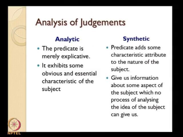 (Refer Slide Time: 42:25) So, now the analysis of judgment, this is again a very important phase in Kant s philosophical contributions.