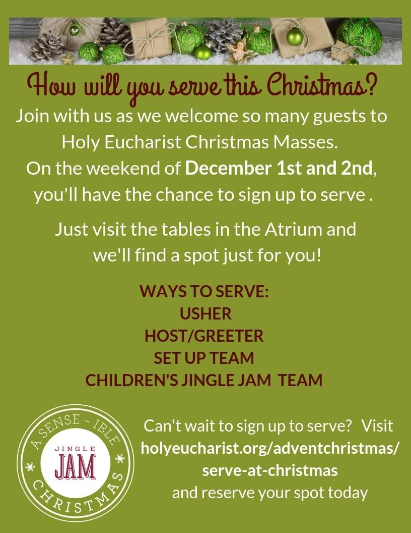This year, at our 2 pm and 4 pm Christmas Eve Masses, we will celebrate Jingle Jam!