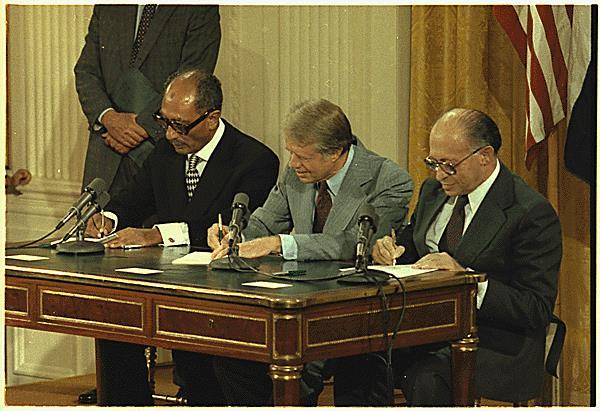 Camp David Accords Israel and Egypt (Anwar Sadat) would sign a peace treaty in 1979 with U.S. Pres.