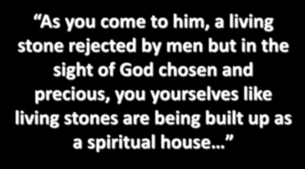 As you come to him, a living stone rejected by men but in the sight of God chosen