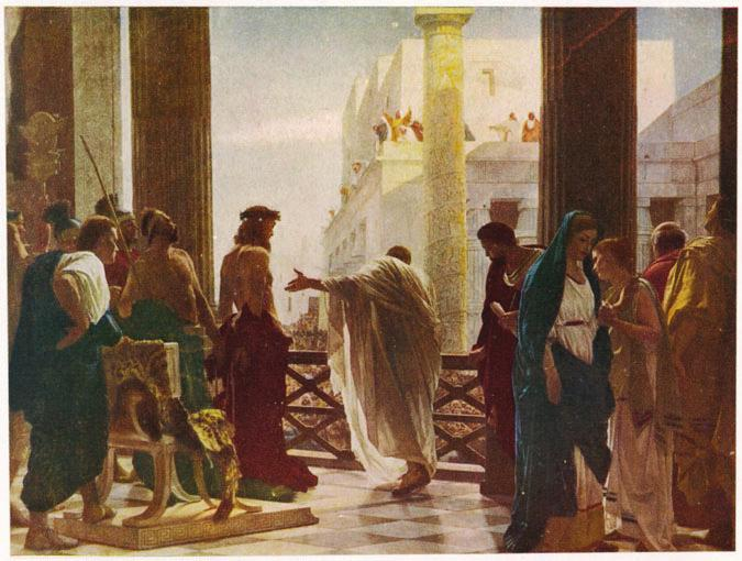 10 A4 The Suffering, Death and Resurrection of Jesus Look at the picture below, which shows Pilate offering Jesus to the