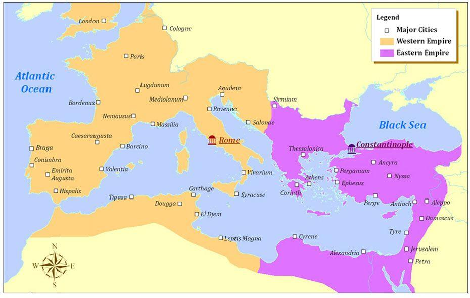 5.1 Eastern Rome -- Byzantine Empire Reading and Q s The Byzantine Empire was a vast and powerful civilization with origins that can be traced to 330 A.D/C.E., when the Roman emperor Constantine I dedicated a New Rome on the site of the ancient Greek colony of Byzantium.