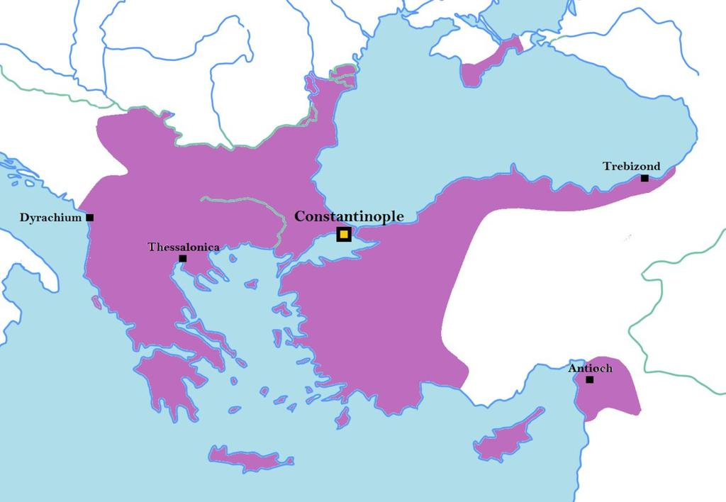 With Constantinople located on a strait, it was extremely difficult to breach the capital s defenses; in addition, the eastern empire had a much shorter common frontier with Europe.