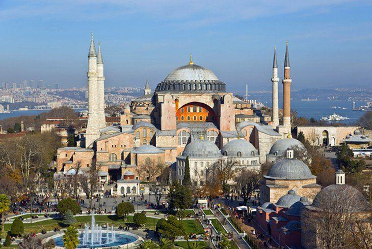 Many great monuments of the empire would be built under Justinian, including the spectacular domed Church of Holy Wisdom, or Hagia Sophia.