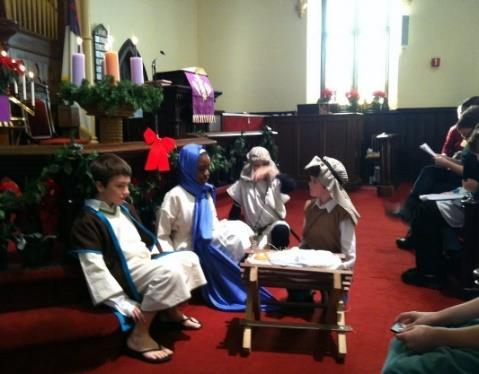 Then came the traditional Christmas Story with the boys in their bathrobes portraying the shepherds, the three kings, angels and Mary & Joseph and baby Jesus.