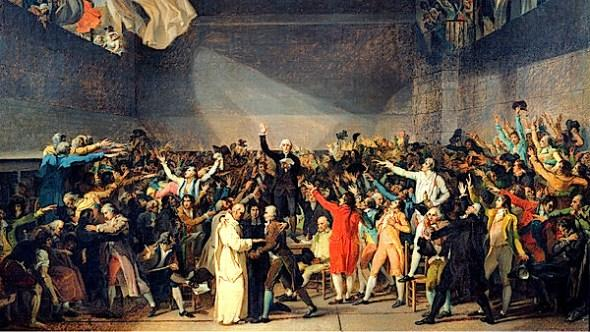 *Tennis Court Oath locked out of their meeting room ---> met on the